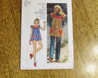 "BOHO 1970's Mini Pinafore Smock Dress w/ Heart Pockets (LOLITA) - Size 6 (Bust 30.5"") - VINTAGE Sewing Pattern Simplicity 5423"
