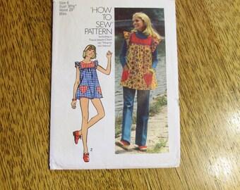 "BOHO 1970's Mini Pinafore Smock Dress w/ Heart Pockets (LOLITA) - Size 6 (Bust 30.5"") - VINTAGE Sewing Pattern Simplicity 5423"