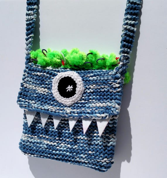Silly Cyclops Hand Knit Bag - Blue and Green