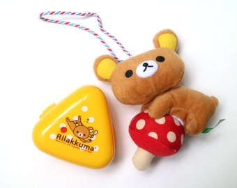 Rilakkuma accessory set of 2 (plush charm and mini yellow storage)