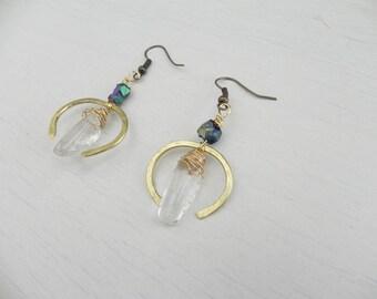 Viola Earrings // Hammered Brass + Nickel Free + Pyrite Freeform Beads + Lucite Drop