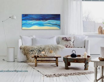 """Large Wall Art Original Abstract Fluid Acrylic Painting """" LIVING WATERS """" Ships Free within the USA"""