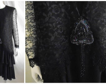 Vintage Flapper Dress 1980's Does the 20's Black Chiffon with Dropped Waist and Beads Large 42x 38 x 42