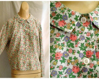 Vintage 1960's Blouse Floral Print Long Sleeve Top Peck and Peck XL 44 bust Spring Blouse