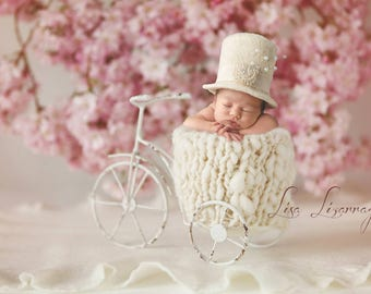RTS Millinery Inspired Newborn Top Hat with Detachable Band for Baby Girl or Baby Boy-Organic Newborn Photo Prop-Baby Top Hat-Infant Top Hat