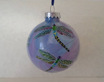 Hand painted ornament, large  dragonfly ornament, personalized ornament, purple, blue swirl 351