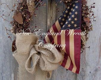 Patrioitc Wreath, Americana Wreath, Fourth of July Wreath, Memorial Day Wreath, Primitive Patriotic, Tea Stained Flag, Military Wreath