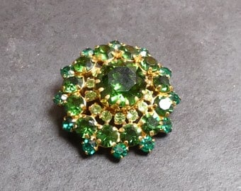 Vintage Mid Century Rare  Domed  Emerald Peridot and Tourmaline Auora Borelias Brooch / Scarf Pin