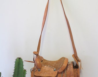 Vintage Leather Saddle Purse Handbag 1960s
