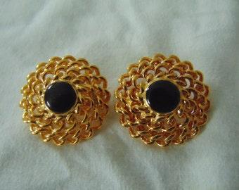 premier designs vintage earrings chain link button black clip ons