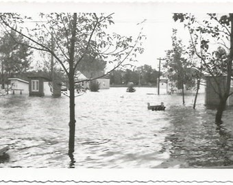 Overflowing Lake Flooding Town Flooded Houses Disaster Scene Vintage Photograph/Postcard Size Black and White