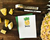 Stand Tall - Hand brush lettered pineapple summer greeting card - with coordinating envelope