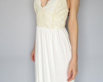 adore - ivory micro bamboo with vintage 1960s floral lace bohemian chic hippie romantic maxi wedding dress small/medium