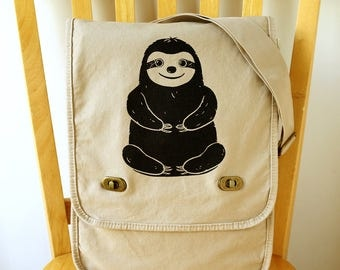 Sloth Canvas Messenger Bag Laptop Bag Shoulder Bag