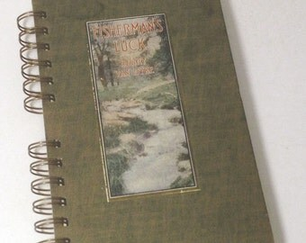 1915 FISHERMANS LUCK Handmade Journal Vintage Upcycled Book Fishing Journal