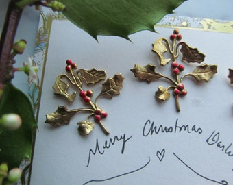 Brass Holly Branch With Red Berries