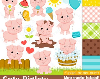 Cute Piglets - Pig clipart - Clip Art and Digital paper set