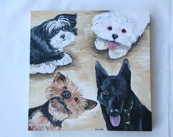 "Custom Pet Portrait Acrylic Painting on Stretched Canvas, Gift for Pet Lover/Loss of Pet, Personalized Pet Painting, 12"" x 16"" Hand Painted"