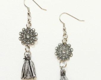 Small Tassel Earrings with Mandala  - Boho Flower Black and White Mandala Earrings Hypoallergenic Silver