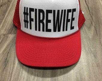 Firewife Trucker Hat #Firewife Firefighter Wife Firefighter Girlfriend Fire Support Women's Trucker Hat Glitter Firefighter Trucker Hats