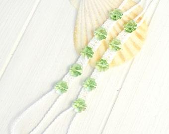 Peridot Foot Jewelry- Greenery Wedding Barefoot Sandals- St Patrick's Day Gift- Beach Wedding Barefoot Sandal- Footless Sandal- Green Clover