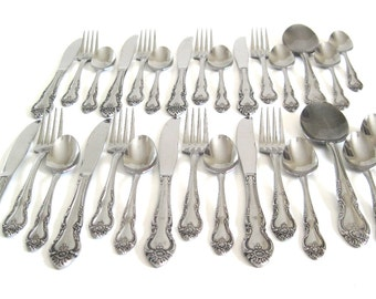 """Ornate Stainless Flatware Set Northland Stainless Japan """"Malmaison"""" Basic Service for 8 or 4, Floral Pattern Silverware"""