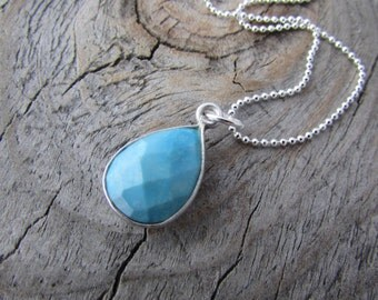 Turquoise Necklace, small faceted teardrop, pale turquoise pendant, silver edged