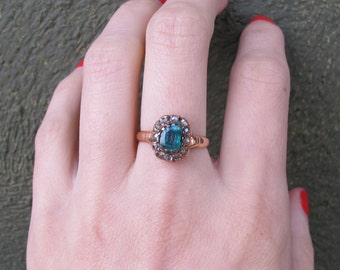 Victorian 18k Rose Gold Emerald and Rose Cut Diamond Halo Engagement Ring