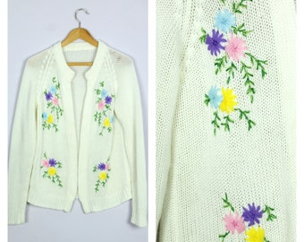 Vintage 1970's Cream Floral Embroidered Knit Cardigan Sweater M/L