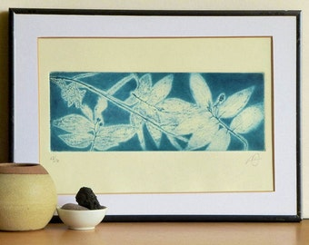 Original Etching Print HAWAII LEAVES GARDEN Landscape Mezzotint Printmaking Beach House Wall Decor Folk Fine Art Print 13x8