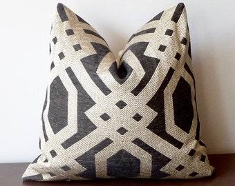 Textured Woven Pillow / Charcoal Grey / Geometric Throw Pillow / Fretwork Trellis Pillow