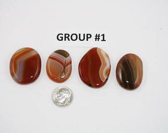 Polished Carnelian Agate Freeform Cabochons Pack of 4 - Group #1