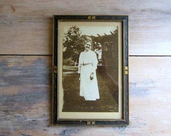 Vintage Art Deco Framed Photo, Happy Grandma, Smiling, Woman, Lady, On Sale