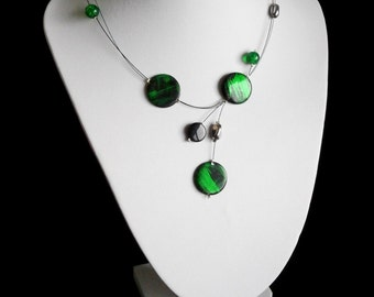 Green Black Necklace, Illusion Necklace , Mother Of Pearl Shell Necklace, Gift For Her, Round Shell Necklace