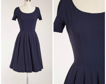 Vintage 1950s Dress • Winter Promenade • Navy Blue Wool Blend 50s Day Dress with Full Skirt Size Small