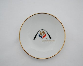 "Vintage International Hotels Trinket Dish - Porcelain China Gold Rimmed 4"" Dish - Hotel Lodging Souvenir 1960's World Globe Logo Advertising"