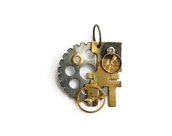 Tiny Steampunk Brass Machinery Pendant
