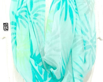 Circle Scarf, Loop Scarf Pattern, Eternity Scarf, Handpainted Scarf Silk, Mint Green and Chartreuse Green Hanabi Florian, 14x72 inches