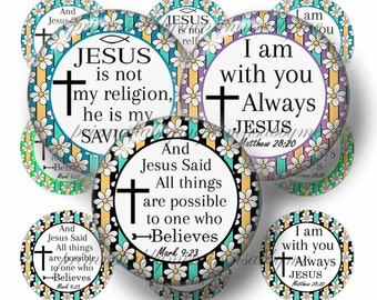 CHRISTIAN,  Bottle Cap Images, 1 Inch circle, Digital Collage Sheet, Instant Digital Download, Religious, Scripture, Bible Verse, (DS-17-1)
