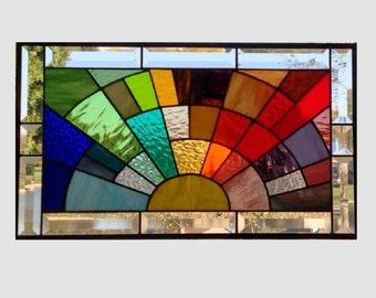 Stained glass panel window medium rainbow arch geometric stained glass window panel abstract suncatcher beveled glass 0175 21 1/2 x 12 1/2