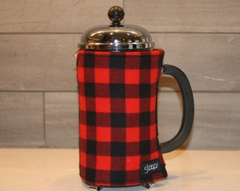 French Press Cozy Buffalo Plaid French Press Wrap in Red and Black Buffalo Check French Press Coffee Cover