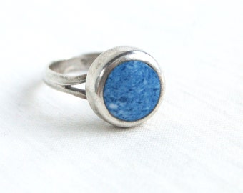 Round Lapis Ring Mexican Sterling Silver Size 7 .75 Vintage Taxco Mexico Modern Circle Cocktail Statement Ring