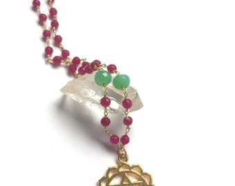HEART CHAKRA Chrysoprase & Jade chain link necklace