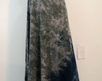 Plus size tie dye semi-flared maxi skirt in bamboo/cotton/spandex knit with soft waistband.