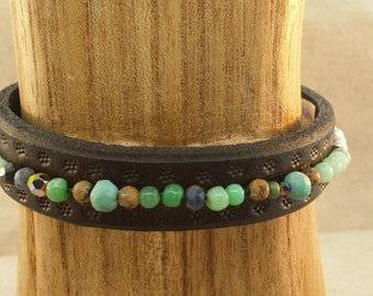 Leather cuff bracelet with chrysoprase