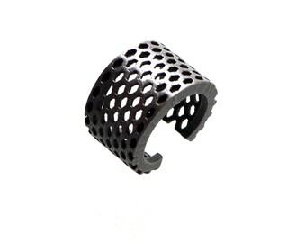 industrial jewelry - Elongated Honeycomb Ring in Dark Steel - stainless steel ring, 3d printed modern jewelry