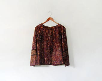 Vintage Blouse / Shirt / Tunic 70's Indonesian Batik Purple / Ochre Medium / Small