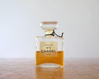 Vintage Chanel No 5 French Parfum / Perfume .5 oz Narrow Facet