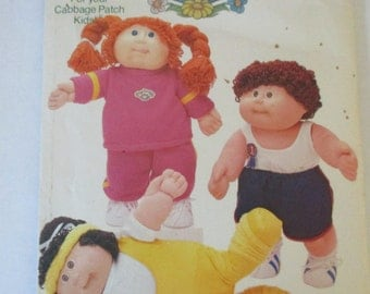 Vintage uncut Cabbage Patch Kids Butterick 3920  boy and girl jogging running tank top shorts exercise outfits   pattern iron on transfers