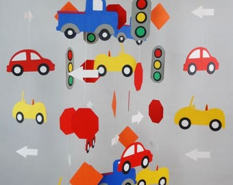 Car Baby Mobile, Transportation Mobile with Cars, Traffic Lights, Signs